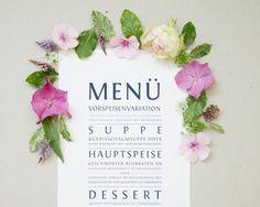 """#Menükarte """"smart and stylish"""" für die #Hochzeit, online bestellbar bei www.papierhimmel.com"""