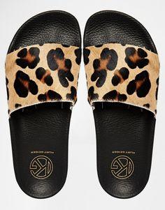 Image 3 ofKG By Kurt Geiger Leopard Print Slider Flat Sandals