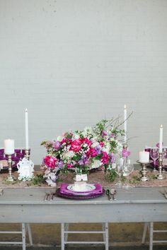 Purple and Pink Tabletop | photography by http://www.jacquelynnphoto.com/