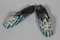 Berlin Wool And Beadwork Slippers Embroidered In Shades Of Blue, With White And Brass Beaded Flowers, Black Leather Heels And Sides, Straight Soles     c.1845