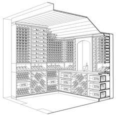 Custom wine cellar design by Kessick in perspective. Wine Cellar Design, Bar, Floor Plans, Wine Cellars, Wine Racks, Integrity, Perspective, Room, Home Decor