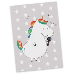 Postkarte  Einhorn Sänger aus Karton 300 Gramm  weiß - Das Original von Mr. & Mrs. Panda.  Jedes wunderschöne Motiv auf unseren Postkarten aus dem Hause Mr. & Mrs. Panda wird mit viel Liebe von Mrs. Panda handgezeichnet und entworfen.  Unsere Postkarten werden mit sehr hochwertigen Tinten gedruckt und sind 40 Jahre UV-Lichtbeständig. Deine Postkarte wird sicher verpackt per Post geliefert.    Über unser Motiv  Einhorn Sänger  Ein Einhorn Edition ist eine ganz besonders liebevolle und…