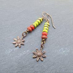 Sunflower earrings, long beaded earrings, Vintaj jewelry, festival jewellery