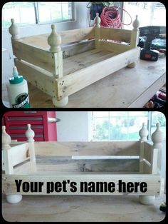 Reclaimed pallet wood transformed into a pet bed. Fit for a furry king. Or queen:) Choose your color or stain. As always, we use only eco-friendly, non-toxic Shabby Paint!