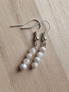 Mother Of Pearl Earrings Small White Pearl Earrings by MadeByMissM