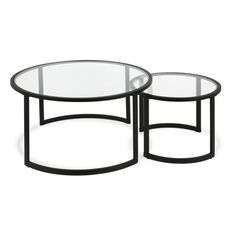 Mitera Round Metal/Glass Nesting Coffee Tables Set of 2 (Optional Finishes) Round Nesting Coffee Tables, Coffee Table Metal Frame, Coffee Table With Storage, Nesting Tables, Coffee Table Plans, Large Table, Small Tables, Living Room Accessories, Home Accessories