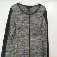 Grey and Black Top with Faux Leather detail Grey and Black Top with Faux Leather detail on the arms and trim Ashley Stewart Tops Tunics