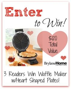 #Giveaway (3) Readers Win BrylaneHome Waffle Maker w/Heart Shaped Plates! $120 Total Value!