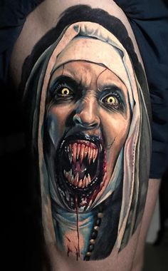 Nun tattoo are the badass tattoos which looks very amazing as it is a trendy tattoo idea. Skull Tattoos, Life Tattoos, Body Art Tattoos, Sleeve Tattoos, Tatoos, Trendy Tattoos, Unique Tattoos, Tattoos For Guys, Horror Movie Tattoos