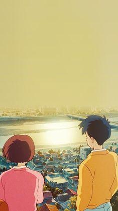 Studio ghibli,whisper of the heart,hayao miyazaki Studio Ghibli Art, Studio Ghibli Movies, Anime Scenery Wallpaper, Cartoon Wallpaper, Hd Wallpaper, Aesthetic Art, Aesthetic Anime, Studio Ghibli Background, Photo Heart
