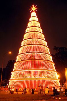 Huge Christmas tree of lights in Sao Paulo Brazil.
