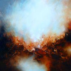 """Große Leinwand abstrakte Landschaftsölgemälde """"Fegefeuer"""" von SimonkennysPaintings"""