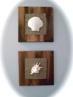 DIY bathroom art: Paint a canvas, hot glue gun a swatch of burlap fabric and a big sea shell...super easy!
