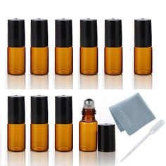ELFENSTALL 10pcs 3ml Roll on Glass Bottle for Essential Oil - Empty Aromatherapy Perfume Bottles - Refillable Slim with Metal Ball and Black Lid Amber   FREE pipette Dropper clean cloth ** Read more reviews of the product by visiting the link on the image.