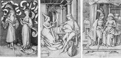 Israhel van Meckenem - Sokolník a dáma, Loutnista a harfistka, Pár sedící na posteli (cca 1495, z cyklu Výjevy ze všedního života)