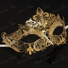 Luxury Laser Cut Venetian Mardi Gras Masquerade Mask with Sparking Rhinestones - Made with Light Metal [Gold]