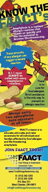 Pass out book marks about food allergies. Get the FAACTs