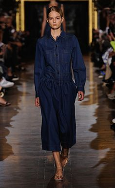 Stella McCartney Summer '15  Look 14 air force blue denim Adele Jacket and Donna Culottes with Margot Sandals.