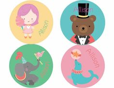 """Under The Big Top Personalized Stickers. 2"""" in diameter"""