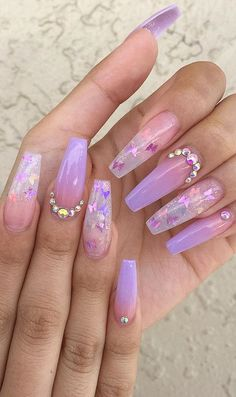 Cute Acrylic Nails 811562795334999841 - Awesome New Year Best Ombre Nail Ideas . - Cute Acrylic Nails 811562795334999841 – Awesome New Year Best Ombre Nail Ideas for 2020 – Page - Purple Ombre Nails, Coffin Nails Ombre, Purple Acrylic Nails, Clear Acrylic Nails, Ombre Hair, How To Ombre Nails, Ombre Nail Art, Pastel Color Nails, Nail Colors