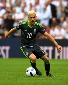 Aaron Ramsey of Wales in action during the UEFA Euro 2016 Group B match between England and Wales at Stade Bollaert-Delelis on June 16, 2016 in Lens, France.