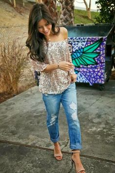 sparkle off-the shoulder shirt + relaxed denim jeans + nude heels