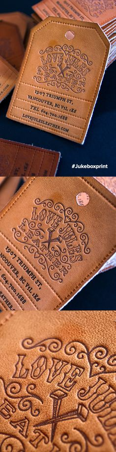 Custom handcrafted vintage style Letterpress Business Cards printed on real Leather. Produced by Jukebox