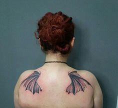 Tattoo #tattoo #inked #ink #wings #bat #redhead
