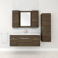 48″ 2 Door / 1 Drawer Floating Vanity with Linen Cabinet in Driftwood #bathroom #vanity #design #homedecor #interiordesign #lightwood #lightcabinets #renovations #textures #Cutler #CutlerKitchenandBath