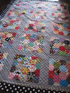 English paper pieced hexagon quilt.