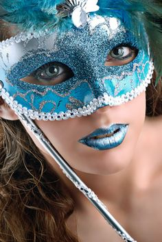 woman in a blue mask with blue lips Costume Carnaval, Blue Mask, Masquerade Party, Masquerade Masks, Mascarade Mask, Venetian Masks, Venetian Masquerade, Carnival Masks, Beautiful Mask