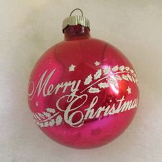 Vintage Shiny Brite ornament pink glass ornament with Merry Christmas and holly garland stencil by thevintageelf