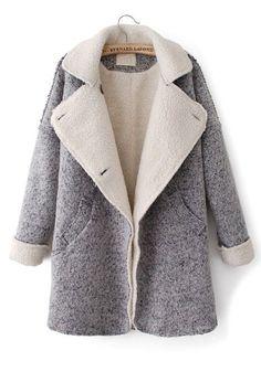 ++ grey pockeets turndown collar long sleeve wool coat