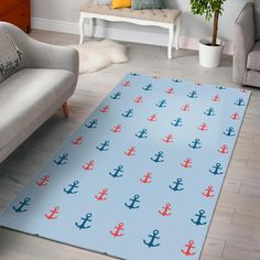 Red Anchor Nautical Pattern Print Home Decor Rectangle Area Rug Trendy Colors, Vivid Colors, Nautical Pattern, Rectangle Area, Print Patterns, Pattern Print, Large Rugs, One Color, Special Gifts