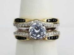 This Yellow gold solitaire enhancer features Round Black and White Diamonds in a Prong Setting. Bridal Ring Sets, Bridal Rings, Bridal Jewelry, Gold Fashion, Fashion Rings, Diamond Gemstone, Gemstone Rings, Kay Jewelers Bridal Sets, Solitaire Enhancer