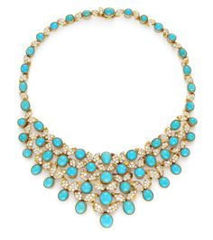1950s Turquoise and Diamond Necklace, Cartier