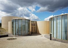 Overlapping cylinders make up this crematorium in northern France.