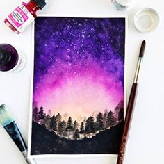 40 Super Cool Milky Way Paintings For Outerspace Lovers – Watercolor paintings Watercolor paintings, Watercolor night sky, Learn watercolor painting, Watercolor galaxy, Night sky Learn Watercolor Painting, Watercolor Brush Pen, Watercolor Projects, Wood Painting Art, Watercolor Night Sky, Night Sky Painting, Watercolor Galaxy, Galaxy Painting, Easy Landscape Paintings
