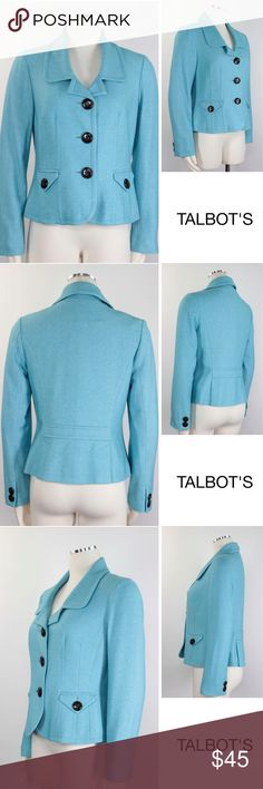 """NWOT Robin Blue Wool Crop Career Blazer Jacket 649 Talbot's Women's Blazer Contrast 3 Button Front Closure, Darted Seams, Notched Collar, Short Length, Double Mini Back Vent, Back Welt Belt, Lined, Print Interior Contrast Piping, 2 Contrast Button Cuffs, 2 Front Button Functional Flap Buttons  Size: 10 Shoulder: 16.5"""" Sleeves: 24"""" Armpit to Armpit: 19""""  Waist: 17"""" Length: 23.25"""" Condition: Excellent, NWOT.   Material: 53% Viscose, 47% Wool Color: Robin Blue WT: 1.7 SKU: 649; 5 All…"""