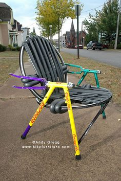 """Bike Furniture Design - Stuffed Chair - made from """"stuffed"""" frames (damaged from hitting something, like a deer!)"""
