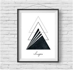 "Printable Art ""Inspire"" Print Geometric Art Triangle Print Scandinavian Art Minimalist Print Home Decor Greeting Card A4 A3 Black and White"