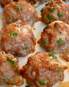 Asian turkey meatballs. One of the commenters added shredded carrots.  Good idea.