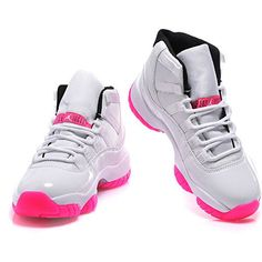 Women Top AAA Air Jordan 11 White Pink DS-718 ❤ liked on Polyvore featuring shoes and sneakers