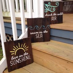 Live in the sunshine - Swim in the sea - Drink the wild air! Use this 3 piece set to enhance any room in your home, especially if you are a free spirit beach lover :) Or these would be perfect in a rustic nursery for a boy or girl! Check out our store Salty Love for ways to customize the signs !!