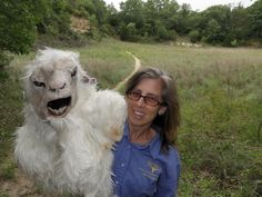 Michelle Villafranca, Natural Resource Specialist, at the Fort Worth Nature Center and Refuge, photographed Thursday July 3, 2014 with the center's Goatman costume.