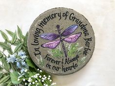 DRAGON FLY MEMORIAL Stone, Penne dragonfly, memorial garden stone, memorial gifts, Memorial Gift Ides, Sympathy Gift, Dragon Fly Memorial by samdesigns22 on Etsy Memorial Messages, Memorial Gifts, Memorial Ideas, Retirement Gifts For Women, Wedding Gifts For Parents, Personalized Garden Stones, Personalized Items, Stepping Stone Pavers, Memorial Garden Stones