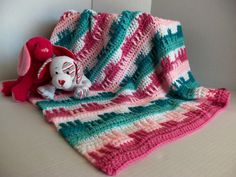 Baby Girl Teals and Pinks Afghan by SnugableTouches on Etsy, $35.00