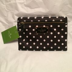 "♠️small drewe blake avenue 4.5""H X 6.5""W Authentic. Black Nylon w/ adorable white polka dots. Zip top closure, fabric lining w/ gold tone hardware. kate spade Accessories"