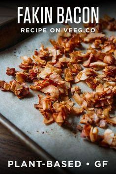 You know what you love besides the excellent smokey taste? You'll love that Vegan Fakin' Bacon is ready in 10 mess-free minutes to use in salads, on sandwiches, wrap, crumbled on a bowl of beans and rice, and everywhere else you crave bacon -you can even make it ahead! #wholefoodplantbased #vegan #plantbased #oilfree #refinedsugarfree #dairyfree with no highly processed ingredients, and #glutenfree | veeg.co Vegan Breakfast Recipes, Vegan Snacks, Vegan Dinners, Brunch Recipes, Vegetarian Recipes, Dinner Recipes, Healthy Recipes, Vegan Food, Breakfast Ideas