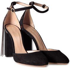 Chloè Liv Embellished Suede Pumps (1 100 PLN) ❤ liked on Polyvore featuring shoes, pumps, heels, sapatos, multicolor, round toe pumps, strap pumps, black strappy shoes, black round toe pumps and black strap pumps